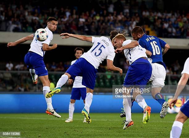 Daniele De Rossi of Italy scores the second goal during the international friendly match between Italy and Finland on June 6 2016 in Verona Italy