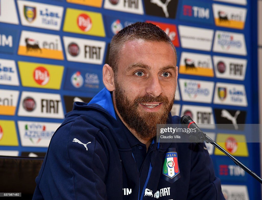 Daniele De Rossi of Italy speaks to the media during a press conference at the club's training ground at Coverciano on June 02, 2016 in Florence, Italy.
