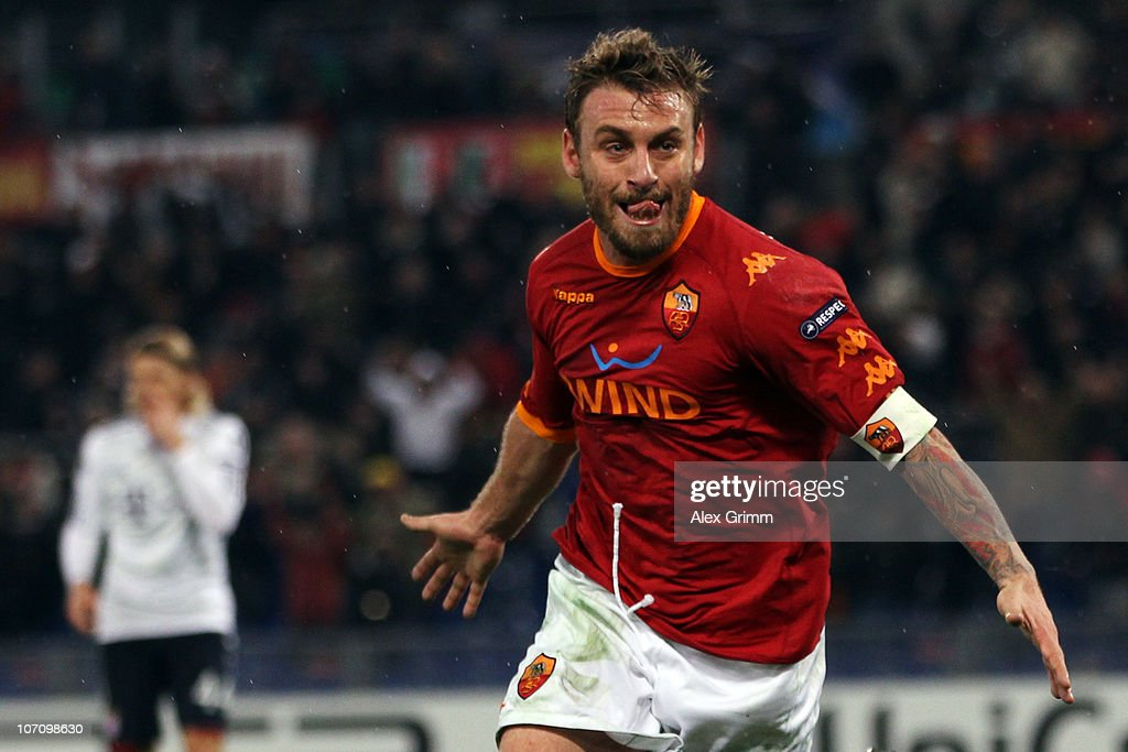 Daniele de Rossi of Roma celebrates his team's second goal during the UEFA Champions League group E match between AS Roma and FC Bayern Muenchen at Stadio Olimpico on November 23, 2010 in Rome, Italy.