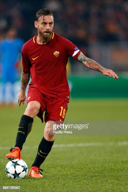 Daniele De Rossi of Roma controls the ball during the UEFA Champions League Group C soccer match against Qarabag in Rome Roma won the match 10