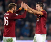 Daniele De Rossi with his teammate Kevin Strootman of AS Roma celebrates the victory after the TIM Cup match between AS Roma and Juventus FC at...