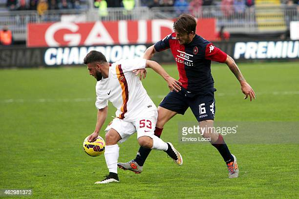 Daniele Dessena of Cagliari and Verde Daniele of AS Roma during the Serie A match between Cagliari Calcio and AS Roma at Stadio Sant'Elia on February...