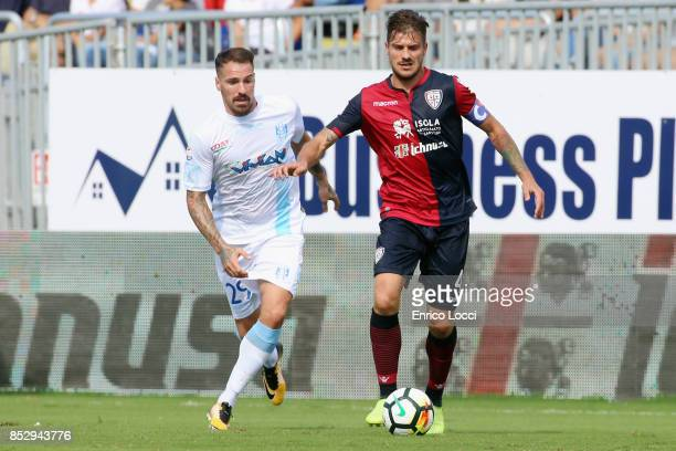 Daniele Dessena of CAgliari in action during the Serie A match between Cagliari Calcio and AC Chievo Verona at Stadio Sant'Elia on September 24 2017...