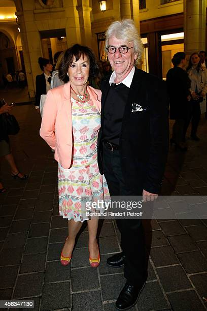 Daniele Evenou and guest attend the tribute to Gisele Casadesus celebrating her 100th anniversary at Theatre Edouard VII on September 29 2014 in...