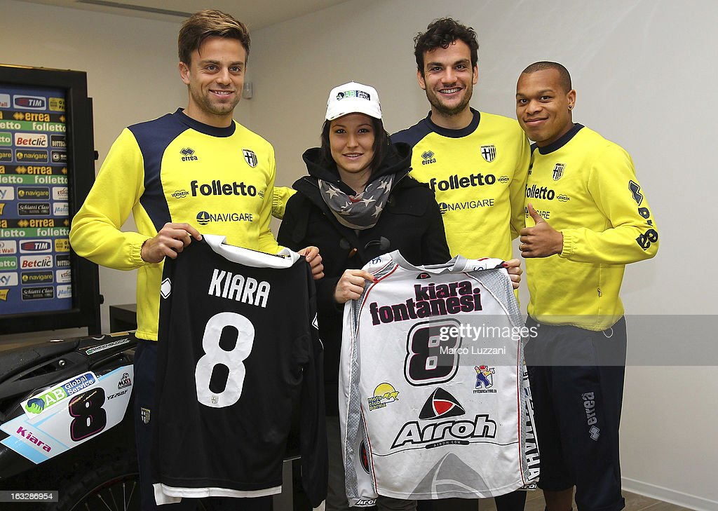Daniele Galloppa, Motocross World Champion Kiara Fontanesi, Marco Parolo and Jonathan Biabiany during a visit at the club's training ground on March 6, 2013 in Collecchio, Italy.