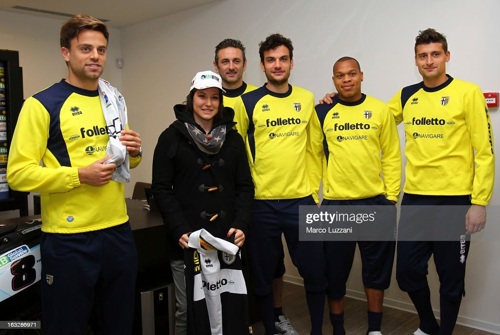 Daniele Galloppa, Motocross World Champion Kiara Fontanesi, Nicola Pavarini, Marco Parolo; Jonathan Biabiany and Andrea Coda during a visit at the club's training ground on March 6, 2013 in Collecchio, Italy.