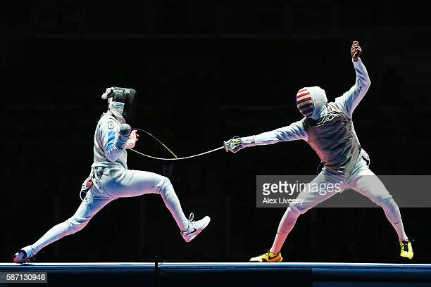 Daniele Garozzo of Italy competes with Alexander Massialas of the United States on his way to winning the Men's Individual Foil Final on Day 2 of the...