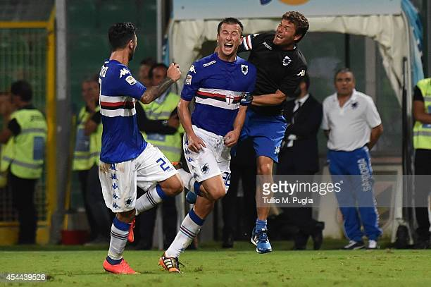 Daniele Gastakdelo of Sampdoria celebrates after scoring the equalizing goal during the Serie A match between US Citta di Palermo and UC Sampdoria at...