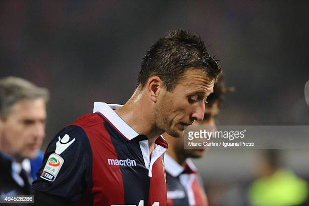 Daniele Gastaldello of Bologna FC shows his dejection at the end of the Serie A match between Bologna FC and FC Internazionale Milano at Stadio...
