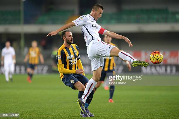 Daniele Gastaldello of Bologna FC stetches for the ball next to Gianpaolo Pazzini of Hellas Verona during the Serie A match between Hellas Verona FC...