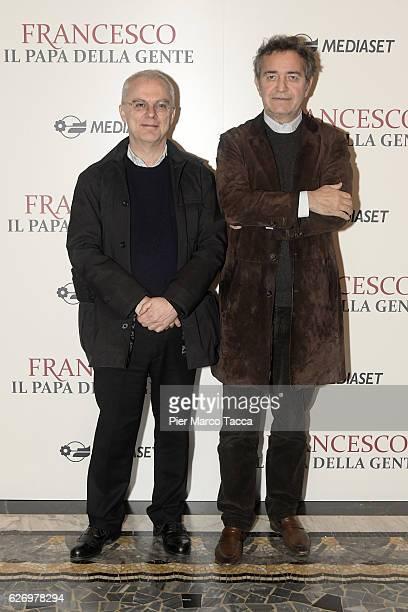 Daniele Luchetti and Pietro Valsecchi attend 'Francesco Il Papa della Gente' TV show presentation at cinema Odeon on December 1 2016 in Milan Italy