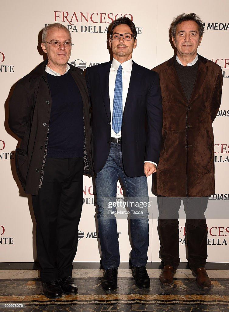 Daniele Luchetti, Pier Silvio Berlusconi and Pietro Valsecchi attend 'Francesco, Il Papa della Gente' TV show presentation at cinema Odeon on December 1, 2016 in Milan, Italy.