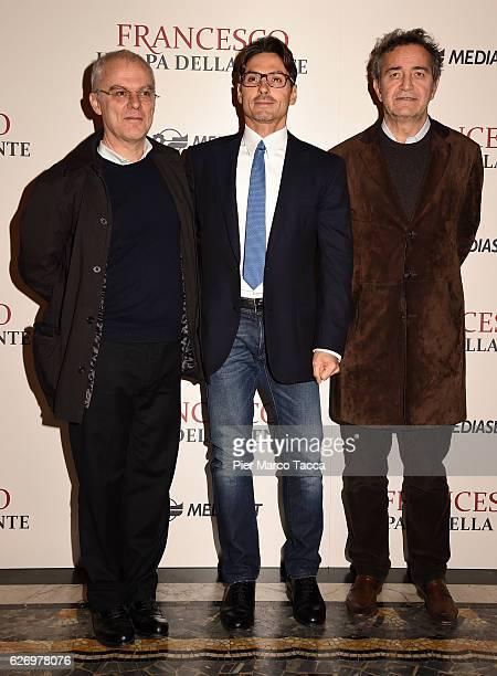 Daniele Luchetti Pier Silvio Berlusconi and Pietro Valsecchi attend 'Francesco Il Papa della Gente' TV show presentation at cinema Odeon on December...