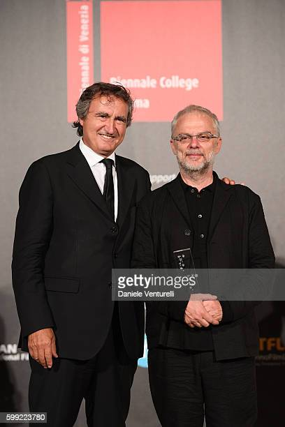 Daniele Luchetti receives the 'Best Director' Award from Luigi Brugnaro at the Kineo Diamanti Award Ceremony during the 73rd Venice Film Festival on...