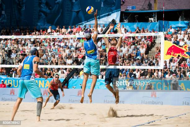 Daniele Lupo of Italy competes against Piotr Kantor of Poland during Day 5 of the Swatch Beach Volleyball FIVB World Tour Finals Hamburg 2017 on...