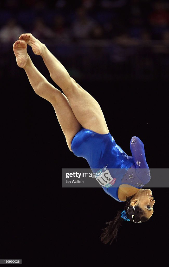 Daniele Matias Hypolito of Brazil in action in the Floor at North Greenwich Arena on January 13, 2012 in London, England.
