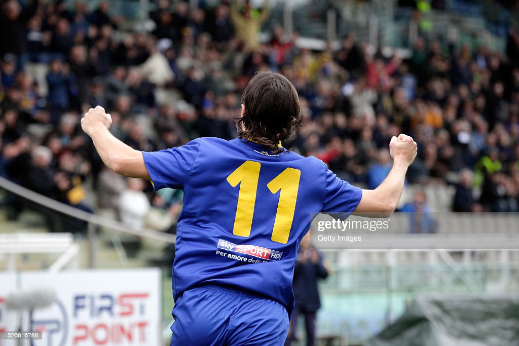 Daniele Melandri of Parma celebrates during the Serie A match between Parma Calcio 1913 and Bellaria Igea Marina at Stadio Ennio Tardini on May 1, 2016 in Parma, Italy.