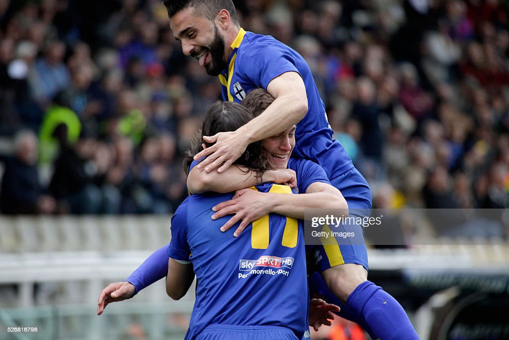 Daniele Melandri #11 of Parma celebrates during the Serie A match between Parma Calcio 1913 and Bellaria Igea Marina at Stadio Ennio Tardini on May 1, 2016 in Parma, Italy.