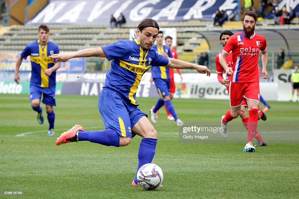 Daniele Melandri of Parma scores during the Serie A match between Parma Calcio 1913 and Bellaria Igea Marina at Stadio Ennio Tardini on May 1, 2016 in Parma, Italy.