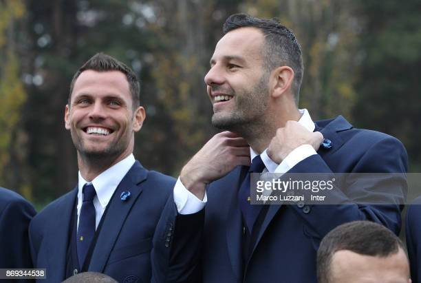 Daniele Padelli and Samir Handanovic of FC Internazionale back stage during the FC Internazionale Official Photoshoot at the club's training ground...