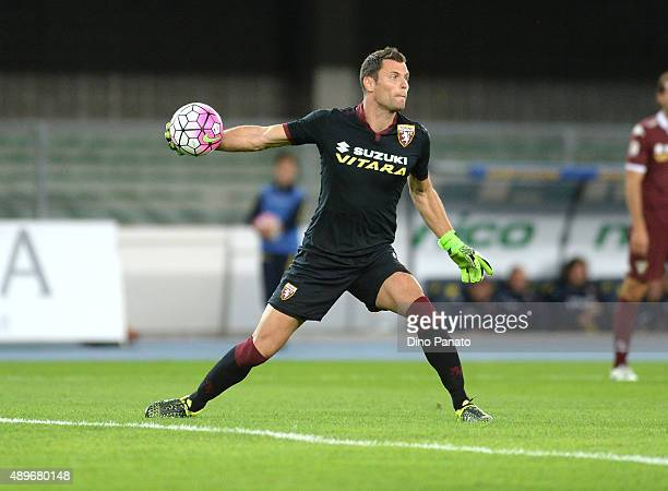 Daniele Padelli goalkeeper of Torino FC in action during the Serie A match between AC Chievo Verona and Torino FC at Stadio Marc'Antonio Bentegodi on...