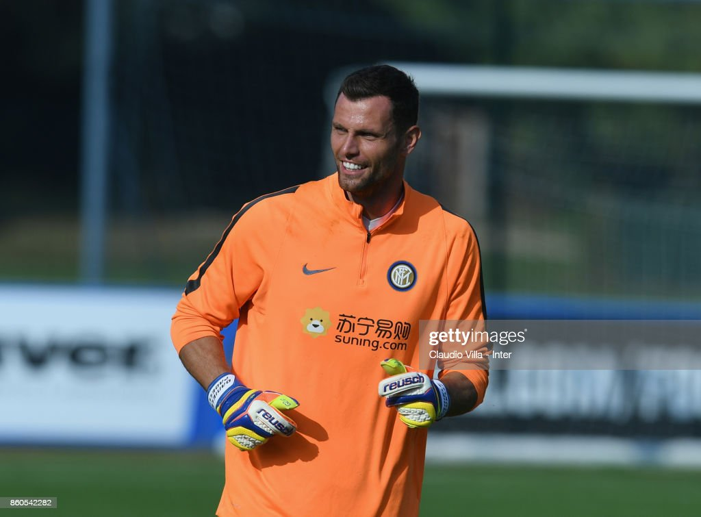 Daniele Padelli of FC Internazionale looks on during the training session at Suning Training Center at Appiano Gentile on October 12, 2017 in Como, Italy.