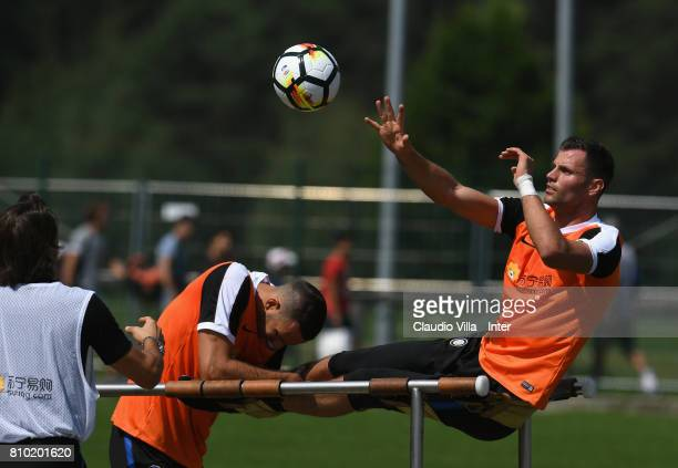 Daniele Padelli of FC Internazionale Milano in action during a FC Internazionale training session on July 7 2017 in Reischach near Bruneck Italy