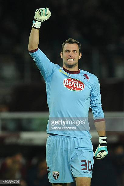 Daniele Padelli of Torino FC celebrates after his teammate Alessio Cerci scored a goal during the Serie A match between Torino FC and AS Roma at...