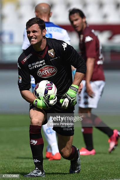 Daniele Padelli of Torino FC reacts during the Serie A match between Torino FC and Empoli FC at Stadio Olimpico di Torino on May 6 2015 in Turin Italy