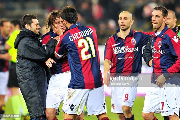 Daniele Paponi of Bologna is congratulated by teammates after scoring the 10 goal during the Serie A match between Bologna and Palermo at Stadio...