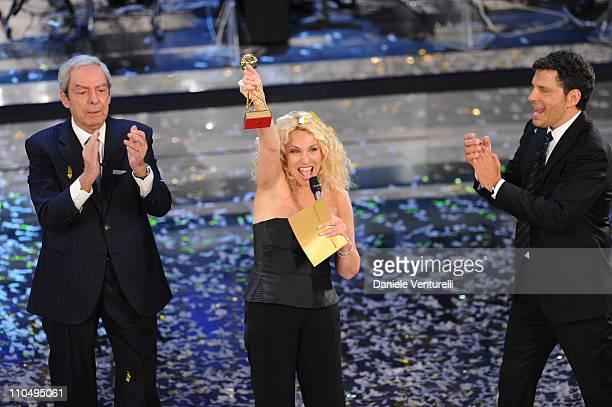Daniele Piombi Antonella Clerici and Fabrizio Frizzi attend 'Premio TV 2011' Ceremony Award held at Teatro Ariston on March 20 2011 in San Remo Italy
