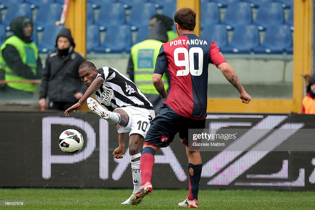 Daniele Portanova of Genoa CFC in action with Innocent Emeghara of AC Siena during the Serie A match between Genoa CFC and AC Siena at Stadio Luigi Ferraris on March 30, 2013 in Genoa, Italy.