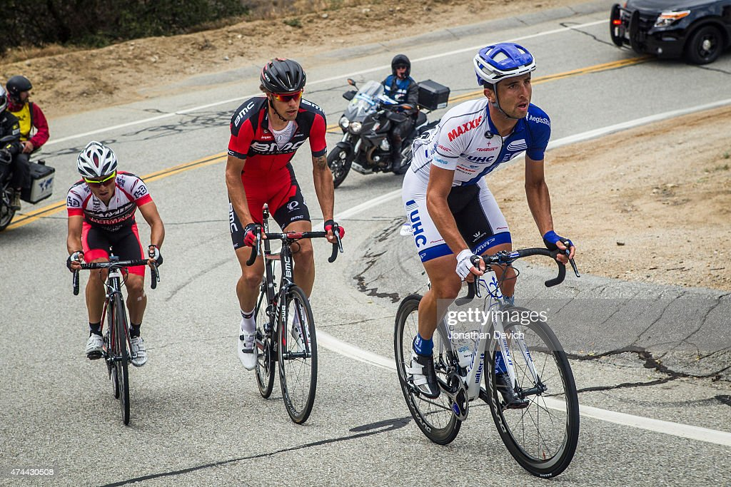 <a gi-track='captionPersonalityLinkClicked' href=/galleries/search?phrase=Daniele+Ratto&family=editorial&specificpeople=11352964 ng-click='$event.stopPropagation()'>Daniele Ratto</a> riding for the UnitedHealthcare Pro Cycling Team leads <a gi-track='captionPersonalityLinkClicked' href=/galleries/search?phrase=Daniel+Oss&family=editorial&specificpeople=5734271 ng-click='$event.stopPropagation()'>Daniel Oss</a> riding for BMC Racing and Gregory Brenes riding for Jamis-Hagens Berman during the Amgen Tour of California - Men's Race Stage 7 on May 16, 2015 in Ontario, California.