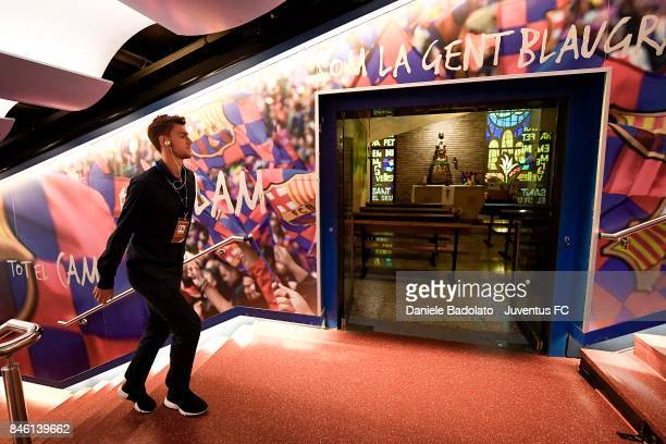 Daniele Rugani ahead of the UEFA Champions League group D match between FC Barcelona and Juventus at Camp Nou on September 12 2017 in Barcelona Spain