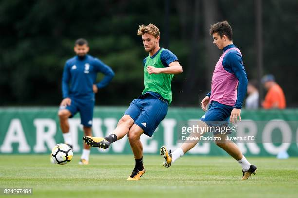 Daniele Rugani and Fabrizio Caligara of Juventus during the morning training session for Summer Tour 2017 by Jeep on July 29 2017 in Boston...
