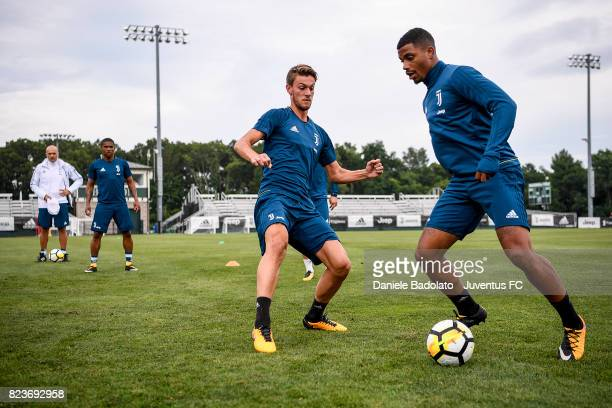 Daniele Rugani and Mario Lemina of Juventus FC during the afternoon training session on July 27 2017 in Boston Massachusetts