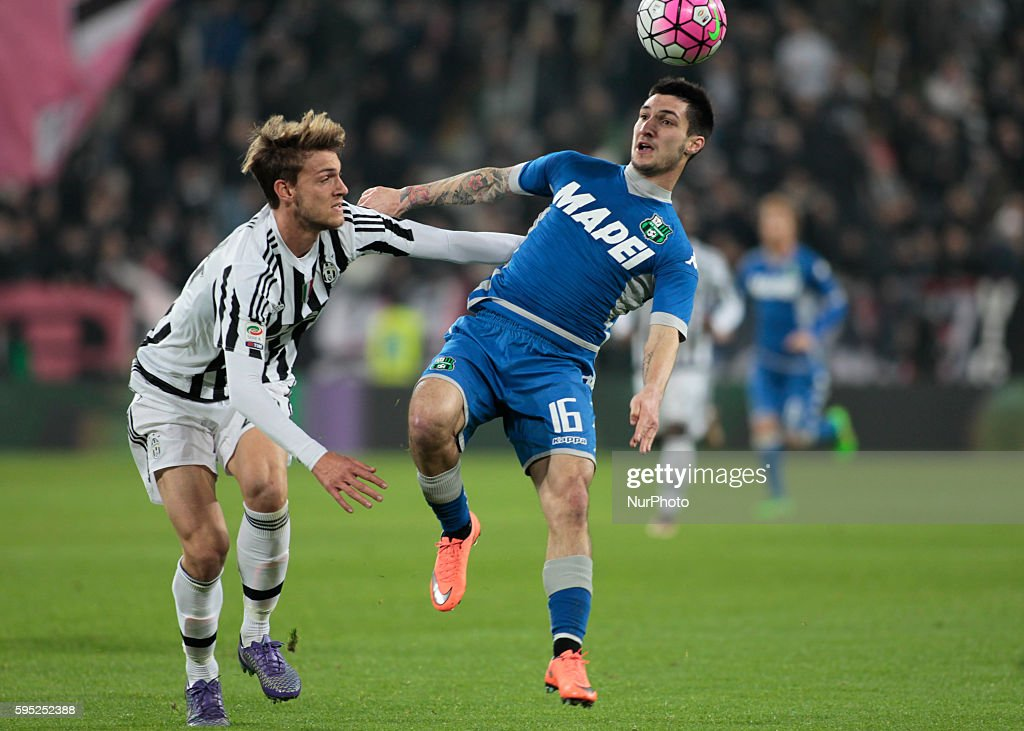Daniele Rugani and Matteo Politano during the serie A match between Juventus FC and US Sassuolo Calcio at the Juventus Stadium of Turin on march 11...