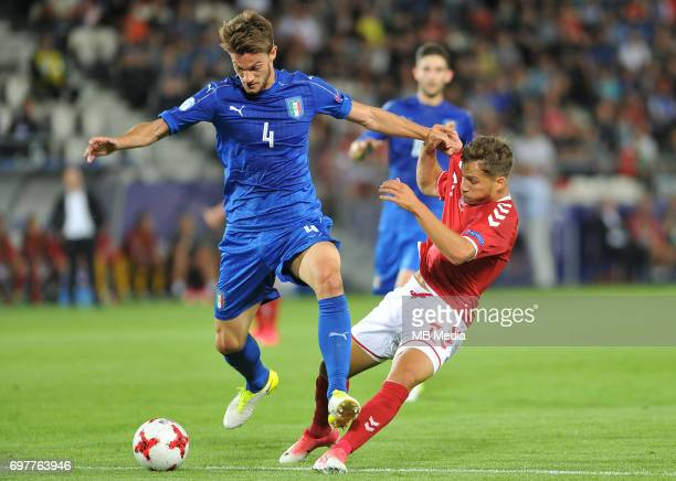 Daniele Rugani Andrew Hjulsager during the UEFA European Under21 match between Denmark and Italy at Cracovia stadium on June 18 2017 in Krakow Poland
