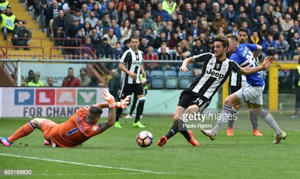 Daniele Rugani chance of goal for Juventus during the Serie A match between UC Sampdoria and Juventus FC at Stadio Luigi Ferraris on March 19 2017 in...