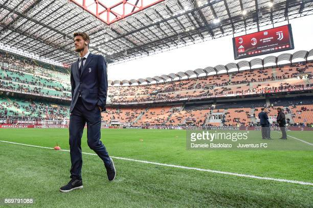 Daniele Rugani during the Serie A match between AC Milan and Juventus at Stadio Giuseppe Meazza on October 28 2017 in Milan Italy