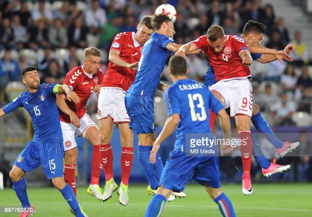 Daniele Rugani Marcus Ingvartsen during the UEFA European Under21 match between Denmark and Italy at Cracovia stadium on June 18 2017 in Krakow Poland