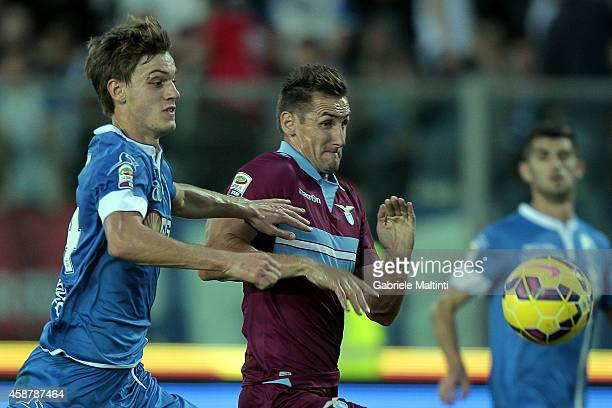 Daniele Rugani of Empoli FC in action and Miroslav Klose of SS Lazio during the Serie A match between Empoli FC and SS Lazio at Stadio Carlo...