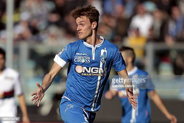 Daniele Rugani of Empoli FC in action during the Serie A match between Empoli FC and Genoa CFC at Stadio Carlo Castellani on March 8 2015 in Empoli...