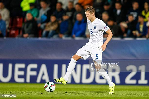 Daniele Rugani of England controls the ball during the UEFA Under21 European Championship 2015 match between England and Italy at Andruv Stadium on...