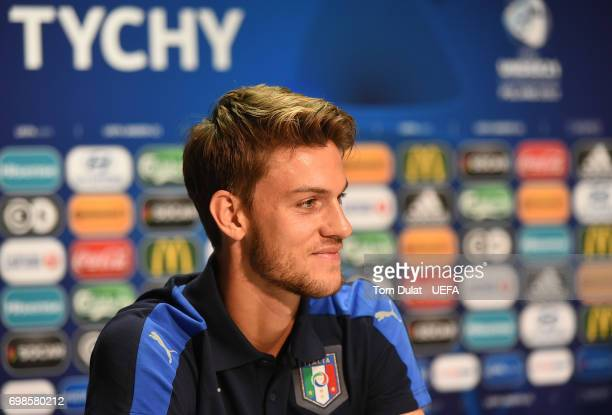 Daniele Rugani of Italy answers questions during a press conference at Tychy City Stadium on June 20 2017 in Tychy Poland