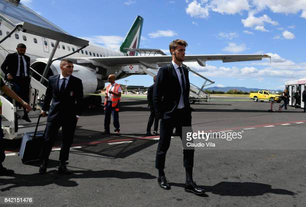 Daniele Rugani of Italy arrives at Florence Airport on September 3 2017 in Florence Italy