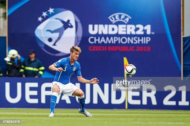 Daniele Rugani of Italy controls the ball during the UEFA Under21 European Championship between Italy and Sweden at Andruv Stadium on June 18 2015 in...