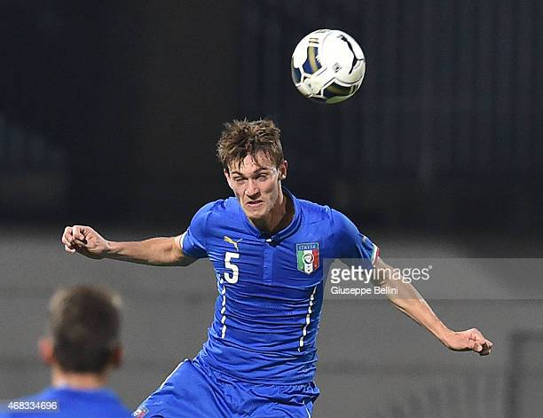 Daniele Rugani of Italy in action during the international friendly match between Italy U21 and Serbia U21 at Stadio Ciro Vigorito on March 30 2015...