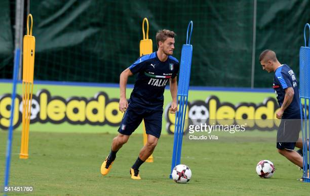 Daniele Rugani of Italy in action during the training session at Italy club's training ground at Coverciano on September 01 2017 in Florence Italy