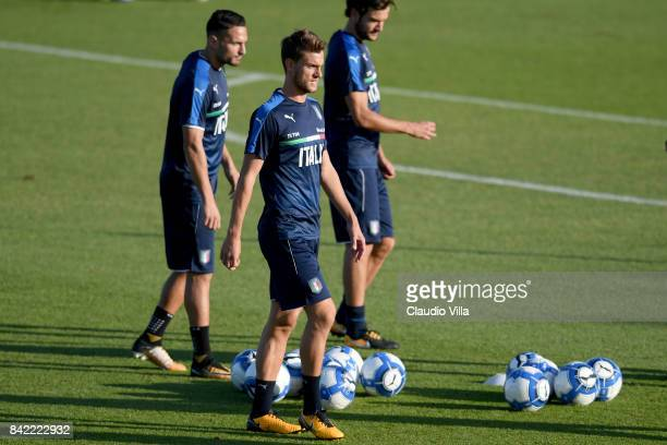 Daniele Rugani of Italy in action during the training session at Italy club's training ground at Coverciano on September 03 2017 in Florence Italy